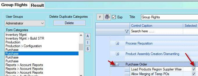 group rights for second product loader on Purchase in Candela retail software