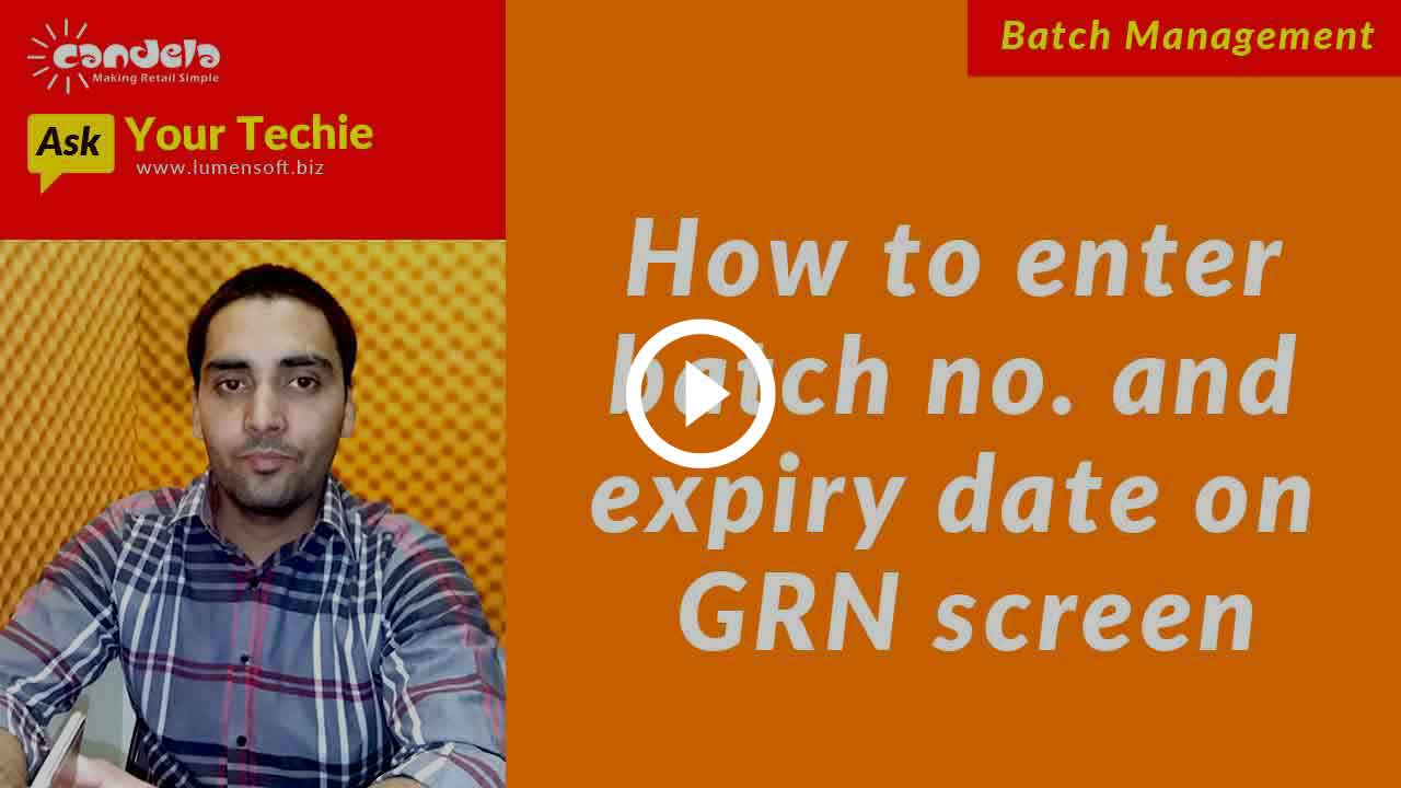 Batch & Expiry Date Management: Entering batch number and expiry date on GRN screen